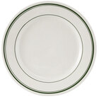 Tuxton TGB-006 Green Bay 6 5/8 inch Eggshell Wide Rim Rolled Edge China Plate with Green Bands - 36/Case