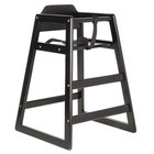 Lancaster Table &amp&#x3b; Seating Ready-to-Assemble Stacking Restaurant Wood High Chair with Black Finish