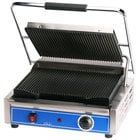 Globe GPG1410 14 inch x 10 inch Grooved Iron Top & Bottom Panini Sandwich Grill