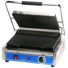 Globe GPG1410 Grooved Iron Top & Bottom Panini Sandwich Grill - 14 inch x 10 inch Cooking Surface - 120V, 1800W