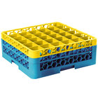 Carlisle RG36-2C411 OptiClean 36 Compartment Glass Rack with 2 Color-Coded Extenders - Yellow / Carlisle Blue