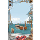 8 1/2 inch x 14 inch Menu Paper - Seafood Themed Port Design Cover - 100/Pack