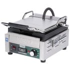 Waring WPG150TB Panini Perfetto Grooved Top & Bottom Panini Sandwich Grill with Timer - 9 3/4 inch x 9 1/4 inch Cooking Surface - 208V, 2400W