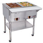 APW Wyott PST-2 Two Pan Exposed Portable Steam Table with Coated Legs and Undershelf - 1000W - Open Well
