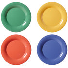 GET WP-12-MIX Diamond Mardi Gras 12 inch Wide Rim Round Melamine Plate, Assorted Colors - 12/Case