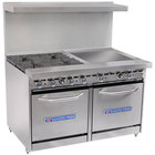 Bakers Pride Restaurant Series 48-BP-4B-G24-S20 4 Burner Gas Range with Two Space Saver 20 inch Ovens and 24 inch Griddle