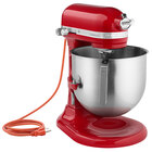 KitchenAid KSM8990ER Red 8 Qt. Bowl Lift Countertop Mixer with Standard Accessories - 120V, 1 3/10 hp