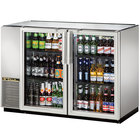 True TBB-24GAL-48G-S-LD 48 inch Stainless Steel Glass Door Back Bar Refrigerator with Galvanized Top and LED Lighting - 24 inch Deep