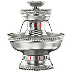 Apex 3011-ST Hostess 3 Gallon Silver Aluminum Beverage Fountain with Silver Rope Trim and Floral Cup