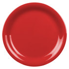 Thunder Group CR106PR 6 1/2 inch Pure Red Narrow Rim Melamine Plate - 12/Pack