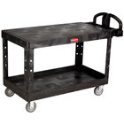 Rubbermaid FG454500BLA Black Large Flat Two Flat Shelf Utility Cart with Ergonomic Handle