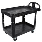 Rubbermaid FG452088BLA Black Medium Lipped Two Shelf Utility Cart with Ergonomic Handle