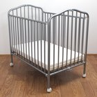 L.A. Baby CS-81 24 inch x 38 inch Pewter Colored Metal Folding Crib with 2 inch Flame Retardant Mattress
