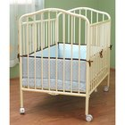 L.A. Baby CS-81 24 inch x 38 inch Vanilla Colored Metal Folding Crib with 2 inch Flame Retardant Mattress
