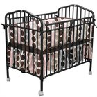 L.A. Baby CS-81 24 inch x 38 inch Black Metal Folding Crib with 2 inch Flame Retardant Mattress