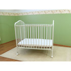 L.A. Baby CS-81 24 inch x 38 inch White Metal Folding Crib with 2 inch Flame Retardant Mattress