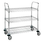 Metro MW707 Super Erecta 21 inch x 36 inch x 39 inch Three Shelf Standard Duty Chrome Utility Cart