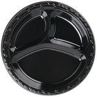 Genpak BLK13 Silhouette 10 1/4 inch 3 Compartment Black Premium Plastic Plate   - 100/Pack