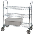 Metro 3SPN55S Super Erecta Stainless Steel Three Shelf Heavy Duty Utility Cart with Polyurethane Casters - 24 inch x 48 inch x 39 inch