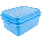 Vollrath 1535-C04 Traex® Color-Mate Blue Food Storage Drain Box Set with Raised Snap-On Lid - 20 inch x 15 inch x 7 inch