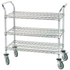Advance Tabco WUC-1842R 18 inch x 42 inch Chrome Wire Utility Cart with Rubber Casters