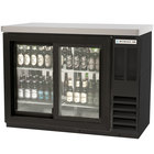 Beverage-Air BB48GSYF-1-B-27-PT-LED 48 inch Black Food Rated Pass-Through Sliding Glass Door Back Bar Refrigerator with 2 inch Thick Top