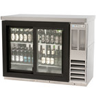 Beverage Air BB48GSYF-1-S-27-PT-LED 48 inch Food Rated Pass-Through Sliding Glass Door Back Bar Refrigerator - All Stainless Steel with Stainless Steel Top