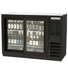 Beverage-Air BB48GSYF-1-B-PT-LED 48 inch Black Food Rated Pass-Through Sliding Glass Door Back Bar Refrigerator