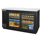 Beverage-Air BB58GSF-1-B-LED 58 inch Black Food Rated Sliding Glass Door Back Bar Cooler with Two Doors