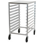 Advance Tabco PR10-3ST 10 Pan Front Load Half Height Aluminum Bun / Sheet Pan Rack / Mobile Work Station with Stainless Steel Top