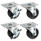 Beverage-Air 00C31-034ABB Equivalent 3 inch Plate Casters for DW49 Series Bottle Coolers - 4/Set