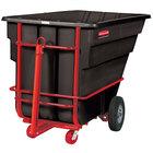 Rubbermaid FG102641BLA Black 1.5 Cubic Yard Towable Trainable Tilt Truck (2100 lb.)