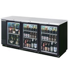 Beverage Air BB72GYF-1-B-27-LED 72 inch Back Bar Refrigerator with Black Exterior, 3 Glass Doors, and 2 inch Stainless Steel Top - 115V
