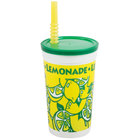 16 oz. Tall Plastic Lemonade Cold Cup with Straw and Lid - 500/Case