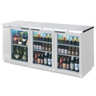 Beverage-Air BB72GYF-1-S-LED 72 inch Back Bar Refrigerator with Stainless Steel Exterior and 3 Swinging Glass Doors - 115V