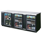 "Beverage-Air BB94HC-1-FG-B 94"" Black Food Rated Glass Door Back Bar Cooler with Three Doors"