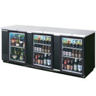 Beverage Air BB94GF-1-B-PT-LED 94 inch Black Food Rated Pass-Through Back Bar Cooler with Six Glass Doors - 39.7 Cu. Ft.