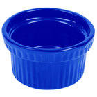 Tablecraft CW1610CBL 10.5 oz. Cobalt Blue Cast Aluminum Souffle Bowl with Ridges