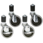 Eagle Group CAH4-SB 5 inch Zinc Swivel Stem Work Table Casters with Resilient Tread - 4/Set