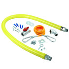 T&S HG-2C-60K Safe-T-Link 60 inch Coated Gas Connector Hose Kit with 1/2 inch NPT Male Ends, 90 Degree Elbow, Restraining Cable, Street Elbow, and Ball Valve