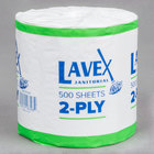 Lavex Janitorial Individually-Wrapped 2-Ply Standard 500 Sheet Toilet Paper Roll   - 96/Case