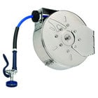 T&S B-7122-C01 30' Enclosed Stainless Steel Hose Reel with Blue Spray Valve