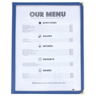 8 1/2 inch x 11 inch Blue Two Pocket Menu Cover