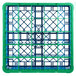 Carlisle RG25-1C413 OptiClean 25 Compartment Green Color-Coded Glass Rack with 1 Extender Thumbnail 4