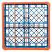 Carlisle RG16-1C412 OptiClean 16 Compartment Orange Color-Coded Glass Rack with 1 Extender Thumbnail 4