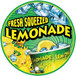 12 inch Round Concession Stand Sign with Fresh Squeezed Lemonade Design   - 2/Pack