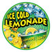 12 inch Round Concession Stand Sign with Ice Cold Lemonade Design - 2/Pack