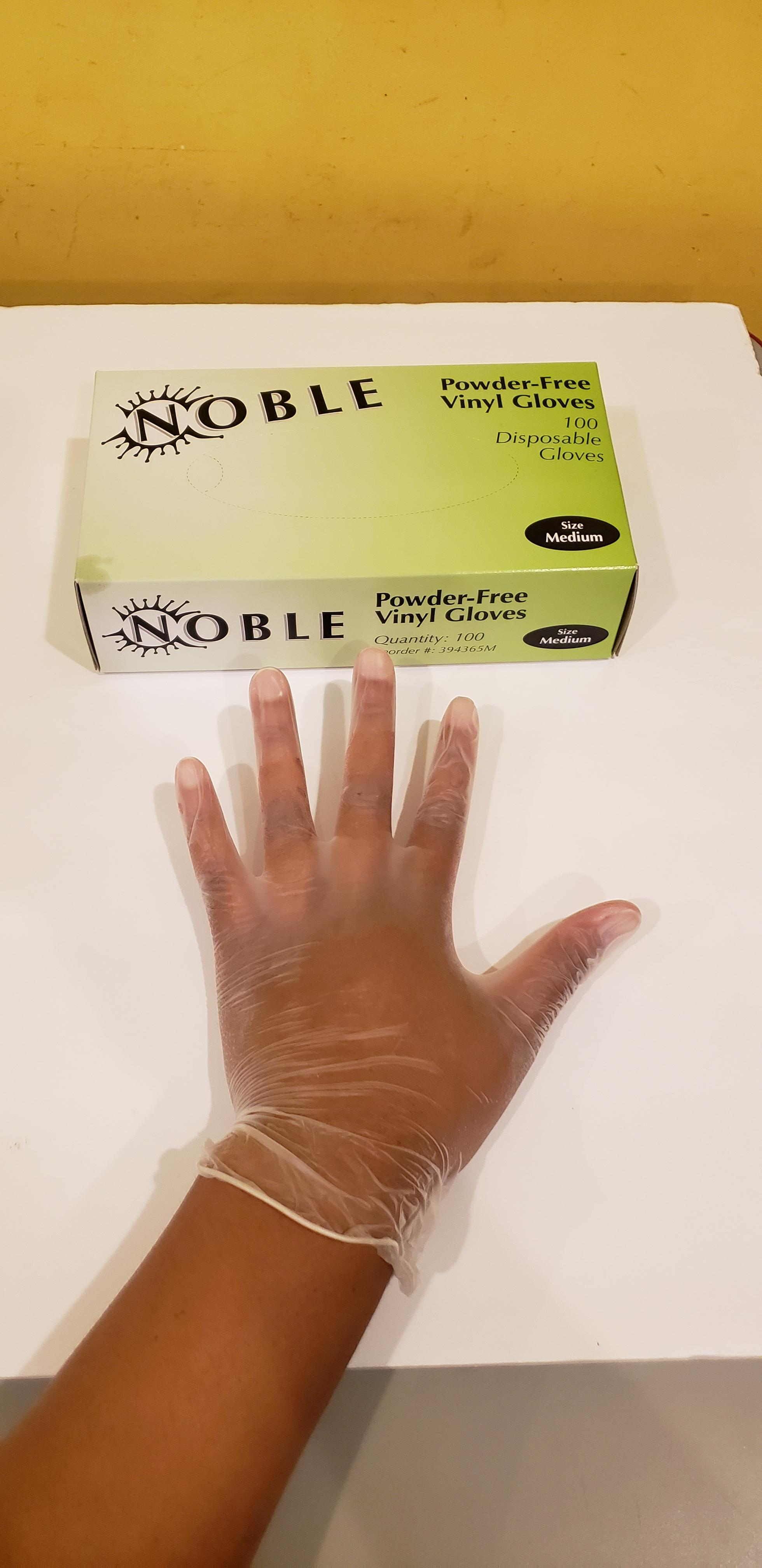 c86436a081004 Noble Products Medium Powder-Free Disposable Vinyl Gloves for Foodservice