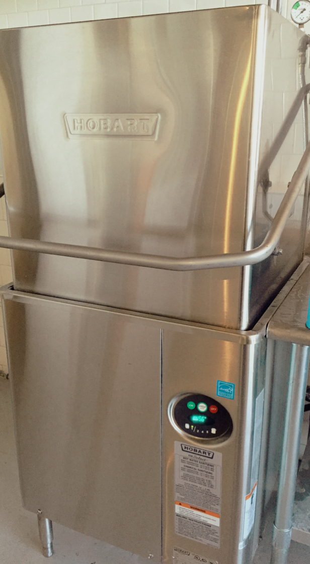 Hobart AM15 2 Single Rack High Temperature Straight Corner Dishwasher With Booster Heater 208 240V 3 Phase