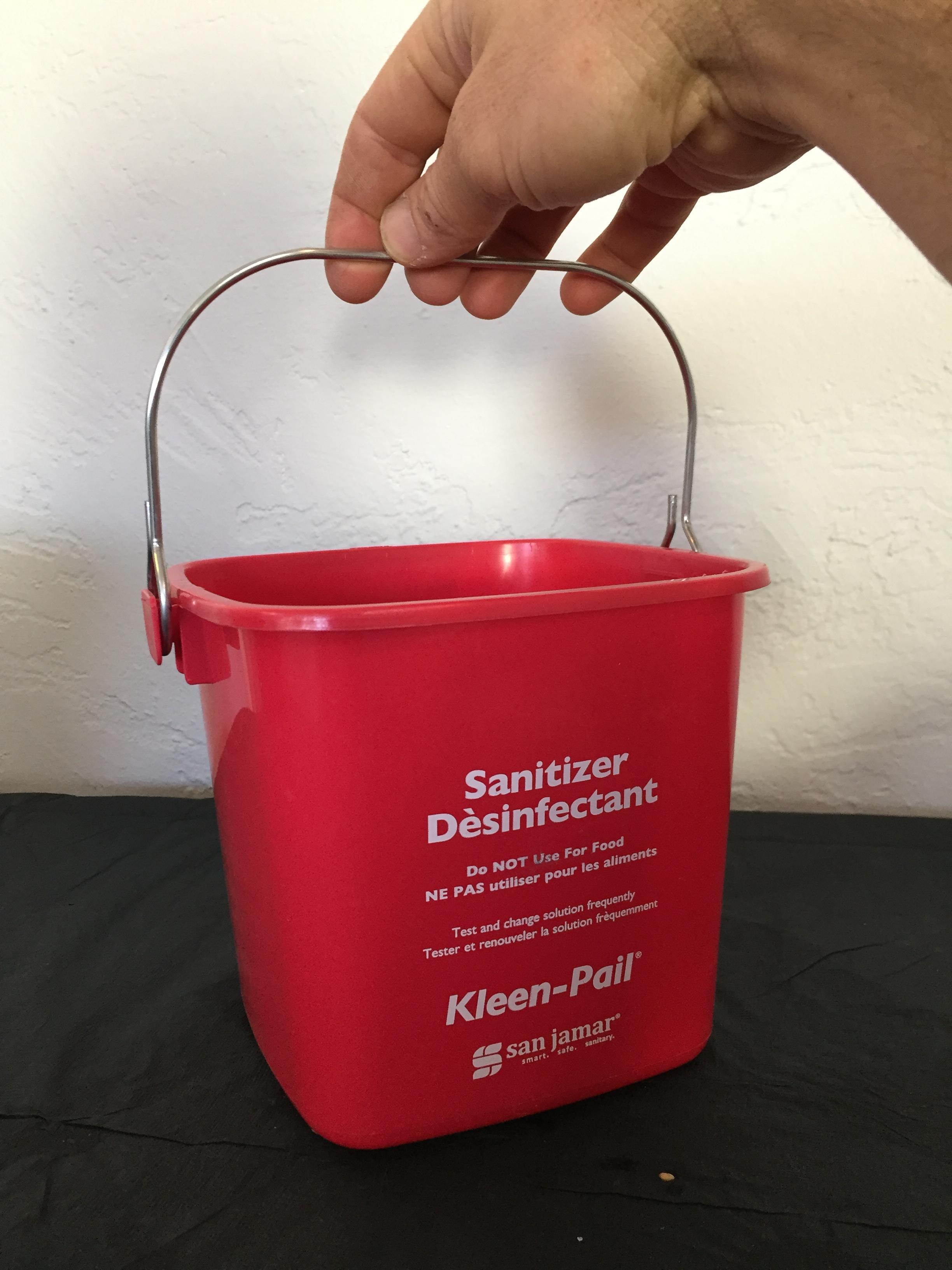 With Pour Spout San Jamar KP320RD Sanitizing Solution Red Safety Pail 10 Qt.